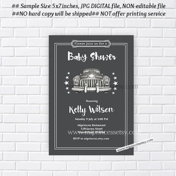 Vintage CAR Baby Shower Invitation, vehicle Retro invitation, birthday party invitation, retro car invites Design - card 187