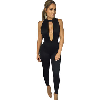 Deep Plunge Cut Out Backless Skinny Jumpsuit