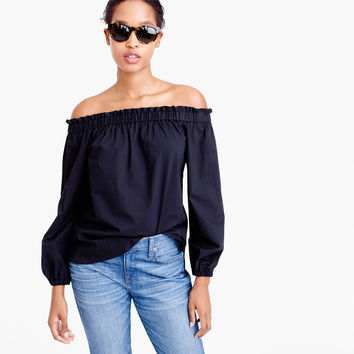 Long-sleeve off-the-shoulder top in cotton poplin