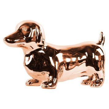 Standing Dachshund Dog Figurine- Copper- Benzara
