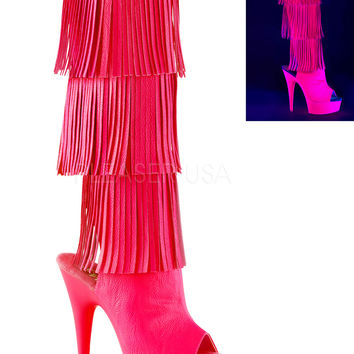 Hot Pink Fringe Knee High Stripper Boot With 6 Inch Heels
