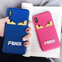 Fendi Fashion New Embroidery Eye Letter Couple Leather Personality Phone Case Protective Cover