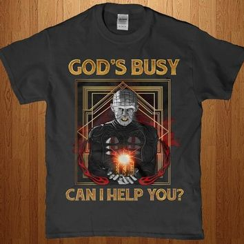 God's busy can i help you? funny pin head horror new t shirt for men