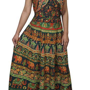 Womens Sundress Indian Handmade Block Print Elephant On Trail Summer Dresses (Green): Amazon.ca: Clothing & Accessories