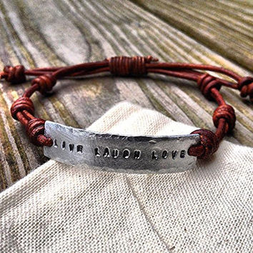 Live Laugh Love silver leather Bracelet Hand by DESIGNbyANCE