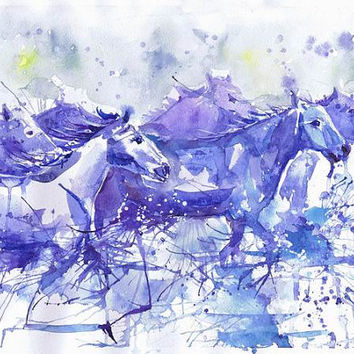 Horses in water  watercolor, wildlife, herd , wall decor,  animal art, art print , Illustration, motion