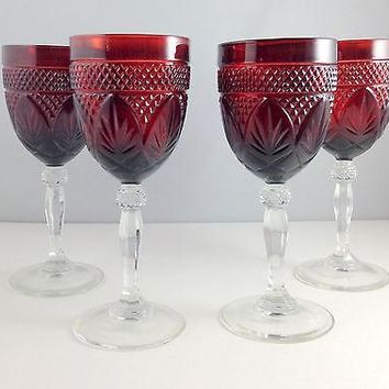 Set of 4 Cristal D'arques Durand Antique Ruby Red Water Goblets