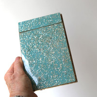 ON SALE Vintage mid century teal and gold resin notepad score pad