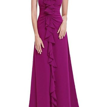 Purple Plain Ruffle Zipper V-neck Sleeveless Fashion Maxi Dress