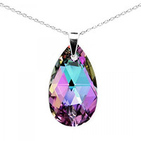 Sterling Silver Made with Swarovski Crystals Pink Purple Blue Teardrop Pendant Necklace,18""