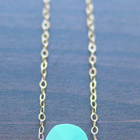 SALE 25% OFF:Rose Cut Turquoise Necklace - 14k Gold Fill