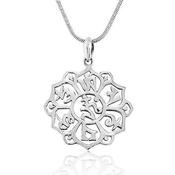 925 Sterling Silver Om Mani Padme Hum Pure Body and Mind Pendant Necklace, 18 inches