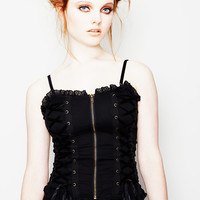 Victorian Steampunk Black Corset Lace up Top By Spin Doctor