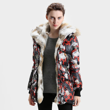 Down Parka Women's Large Rabbit Fur Collar Placket Hooded Floral Printing White Duck Down Winter Coat Women Jacket JHF50094