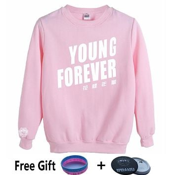 MULYEN Bullet Proofkawaii pink hoodie Women Bangtan Boys Clothing BTS Kpop Hoodies Young Forever Printing k-pop Sweatshirt
