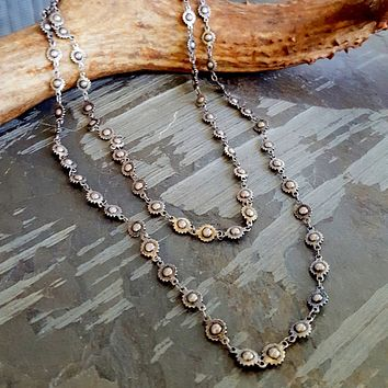 Long Oxidized Silver Metal Wheel Bead Chain Necklace