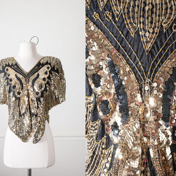 Vintage 80s Sequined Butterfly Top | Gold Beaded 80s Top Black Cocktail Blouse Avant Garde 80s Top Boho Disco Retro Glam Trophy Club Kid