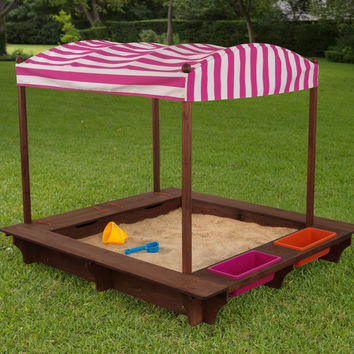 KidKraft Cabana Sandbox - Pink & White Stripes - 00508