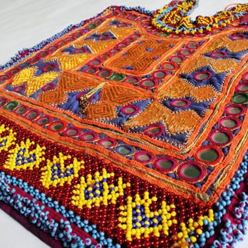 Beaded Banjara Gypsy Vintage Handmade Neck Yoke. Beautiful Embroidered and Beaded Patch for Jacket, Jeans or any of your Creativity.
