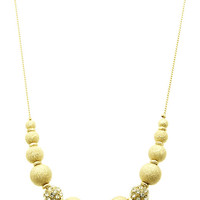 NECKLACE / PAVE CRYSTAL STONE BALL / ADJUSTABLE / TEXTURED METAL BEAD / CHAIN / 18 INCH LONG / 1/4 INCH DROP / NICKEL AND LEAD COMPLIANT