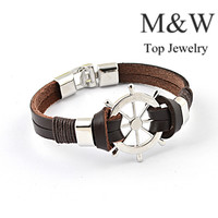 Fashion Bracelet with Nautical Wheel on Cow Leather Stainless Steel