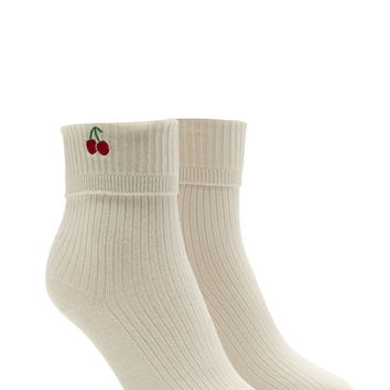 Cherry Graphic Crew Socks