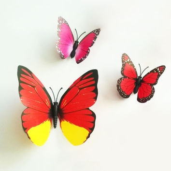 Fashion 12pcs Red 3D Butterfly Sticker Art Design Decal Wall Stickers Room Decorations  Home Decor