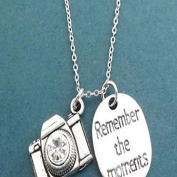 Camera Necklace Pendant w Chain  Photographer Gift PFNECKLACEY