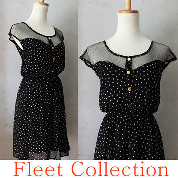 PETIT DEJEUNER  Polka Dot  Black Lace Illusion by FleetCollection