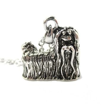 Realistic Long Haired Maltese Puppy Dog Shaped Necklace in Shiny Silver