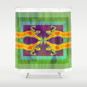 4 men Shower Curtain by Kathead Tarot