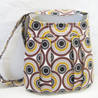 Mod Pleated Crossbody, Pleated Bag Mod Print, Retro Style Bag with Zippered Pocket, Ready to Ship