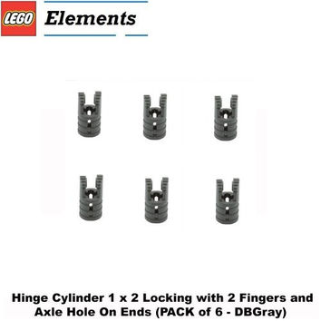 Lego Parts: Hinge Cylinder 1 x 2 Locking with 2 Fingers and Axle Hole On Ends (PACK of 6 - DBGray)