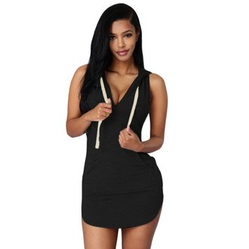 Deep V-neck Sleeveless Irregular Short Bodycon Hooded Dress