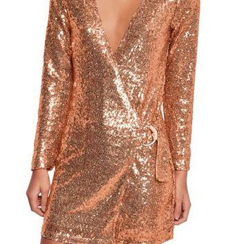 Missguided Sequin Blazer Wrap Dress | Nordstrom