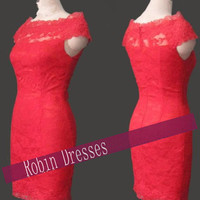 New Custom-made Short Red Lace Wedding Dresses Bridal Dresses