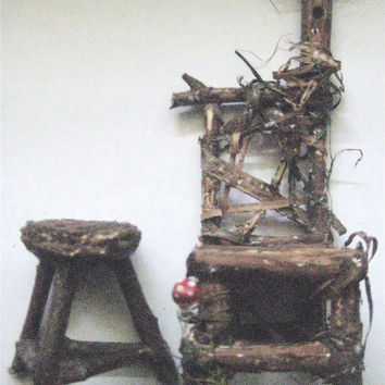 OOAK Primitive Folk Art Fairy or Gnome Miniature Twig Chair with Birdhouse, Mushroom & Table--Original Handcrafted Folk Art