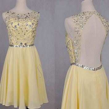 Yellow Knee Length Beaded Prom Dresses,Short Backless Prom Dresses ,Short Homecoming Dresses,Bridesmaid Dresses,Formal Party Grown