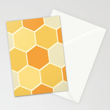 Yellow Honeycomb Stationery Cards by spaceandlines
