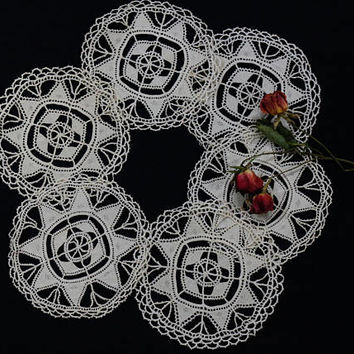 Set of Lace Doilies, Hand Made Knotted Reticella Crochet Lace, Round Star Geometric Design, Ivory Ecru, Open Work Coasters, Vintage