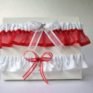 Red Garter - Wedding Garder, Fall Wedding Autumn Wedding, Red and Silver, Elegant Red Bridal Accessories, Red Bridal Garter Plus size garter