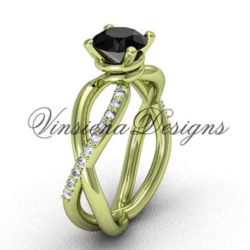 14kt yellow gold engagement ring,Black Diamond  VD870