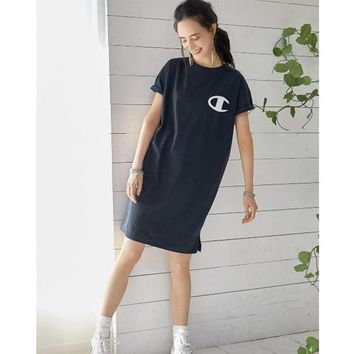 Ladies Women's Fashion Summer Cotton Knit One Piece Dress [350654857252]