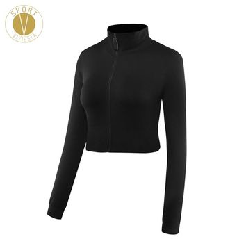 Slim Fit High Neck Cropped Sports Jacket - Women's Run Train Active Leisure Stylish Long Sleeve Layer Zip Up Crop Top Hoodie