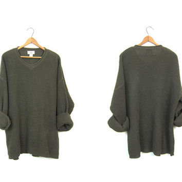 Oversize Waffle Knit Thermal Sweater Top Army Green Oversized 90s Boyfriend Pullover Slouchy Long Underwear Shirt Mens Large