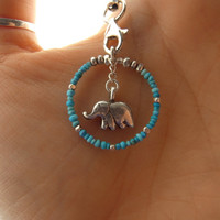 Lucky elephant turquoise cell phone charm