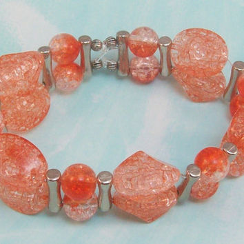 Fire Orange Crackle Beaded Stretch Bracelet Medium