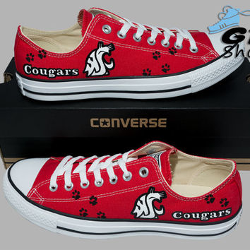 Hand Painted Converse Low. WSU Cougars. Football. Washington State University. Handpainted shoes.