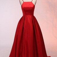 Long Satin Red Prom Dresses, Red Evening Gowns