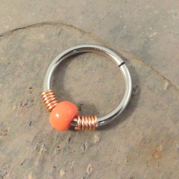 Tangerine Orange and Copper Cartilage Hoop Earring Septum Tragus Nose Ring Upper Ear Piercing 20 Gauge